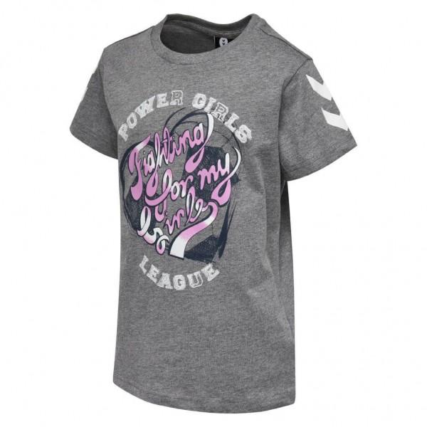 Das neue hummel Kevyne T-Shirt für Mädchen in grau-pink
