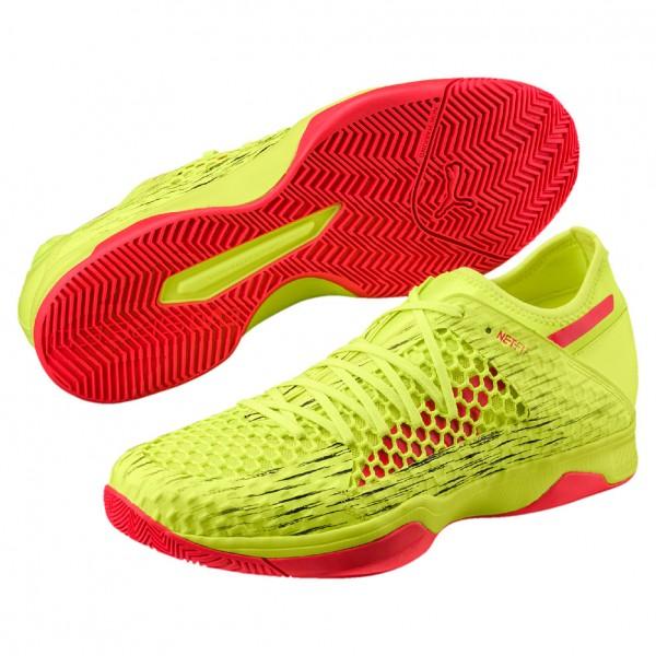 Die neuen Puma Handballschuhe evoSpeed Indoor Netfit 3 in gelb/rot