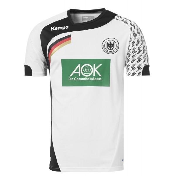 Das neue Trikot der deutschen Handball-Nationalmannschaft für 2015/16 in weiss/schwarz
