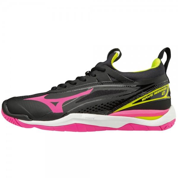 Die neuen Mizuno Wave Mirage 2 Damen Handballschuhe in schwarz-pink