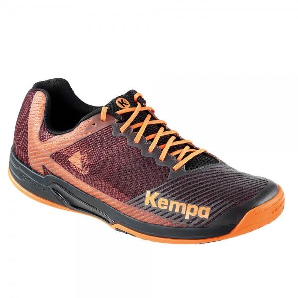 Die neuen Kempa Wing Handballschuhe Laganda in schwarz/orange