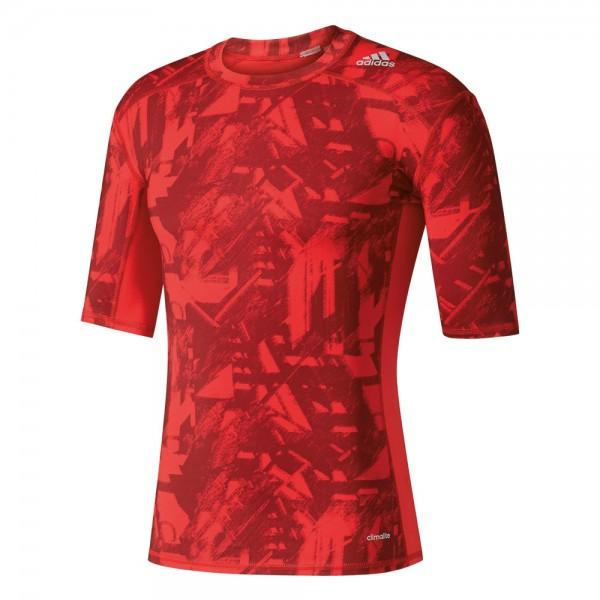 adidas Techfit Base Graphic Shirt - scarlet