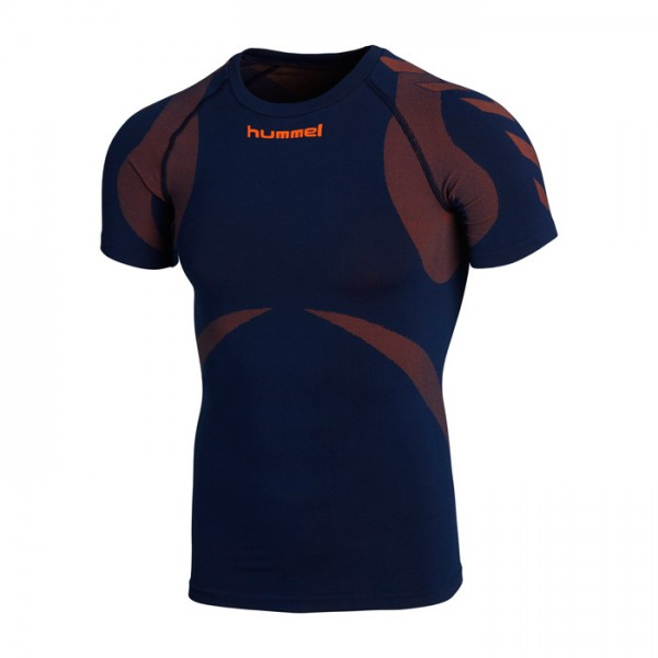 Hummel Funktions-Shirt S/S - dark denim/shocking orange