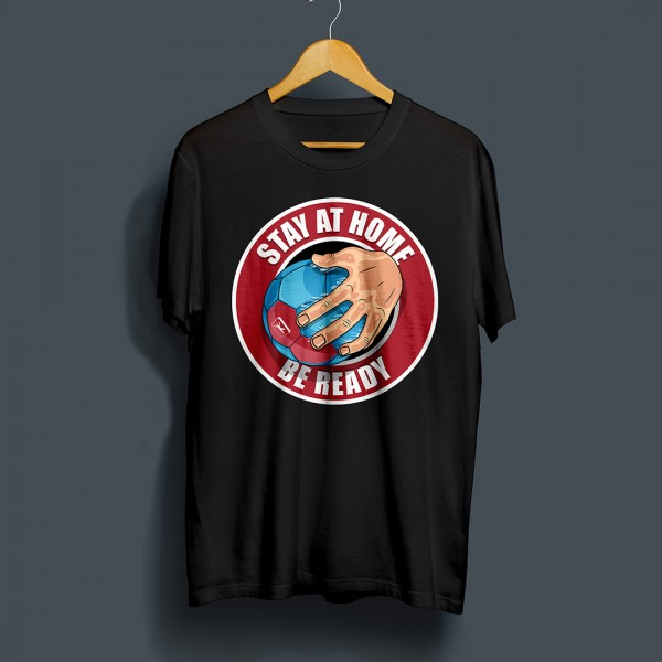 Handball Markt T-Shirt Stay at Home - Be ready in schwarz